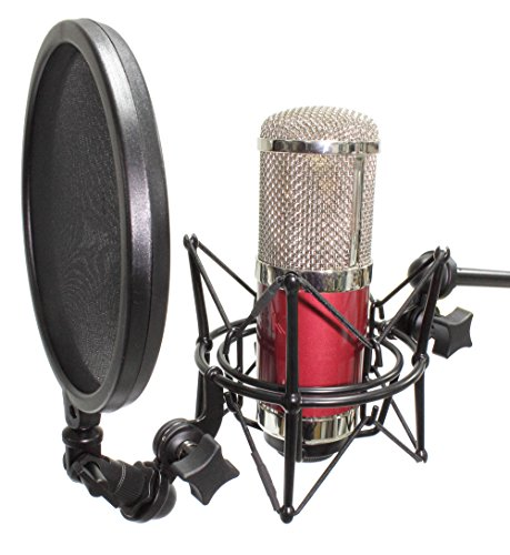 iSK U99R Pure Aluminum Large Diaphragm Studio Condenser Microphone (Red) by iSK