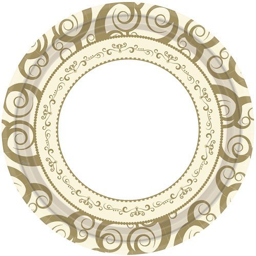 Hanna K. Signature Collection 18 Count Medley Paper Plate, 10.25-Inch, Gold
