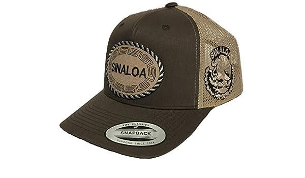 7f78784ae7b Sinaloa 2 Logos Hat Brown Khaki Mesh Trucker at Amazon Men s Clothing store