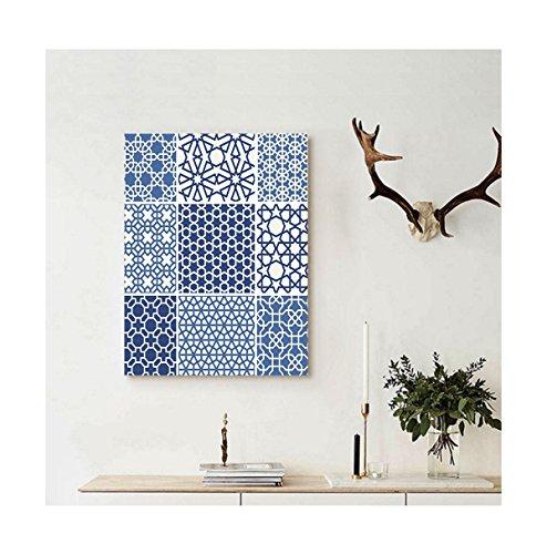 Blue Mountain Geometric Wallpaper (Liguo88 Custom canvas Arabian Decor Collection Arabesque Islamic Motifs with Geometric Lines Asian Ethnic Muslim Ottoman Element Wall Hanging Blue White)
