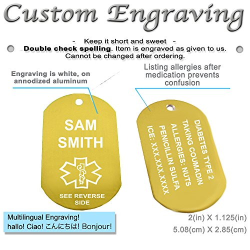 My Identity Doctor – Custom Engraved Medical Alert ID Dog Tag, Yellow Aluminum, 22 Inches Chain – Made in USA