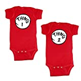 We Match! Unisex Baby Twin Set 2-Pack Thing 1 & Thing 2 Bodysuits