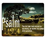 Bible Verse Psalm 149:4 Mouse Pads Customized Made to Order Support Ready 9 7/8 Inch (250mm) X 7 7/8 Inch (200mm) X 1/16 Inch (2mm) High Quality Eco Friendly Cloth with Neoprene Rubber MSD Mouse Pad Desktop Mousepad Laptop Mousepads Comfortable Computer Mouse Mat Cute Gaming Mouse_pad