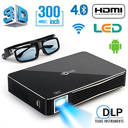 DLP HD 1080p Projector 3D Home Theater Projector , Support external bluetooth Speaker, mouse and gamepad,Throw Range 300 inch