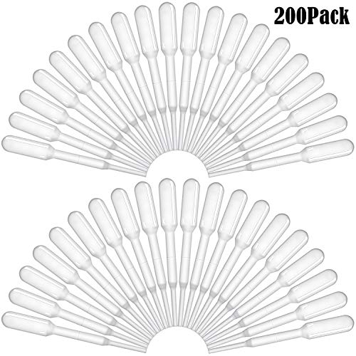 BronaGrand 200 Pieces Graduated Transfer Pipettes Plastic Eye Dropper Disposable Essential Oils Pipettes,Clear,Capacity 0.2ml