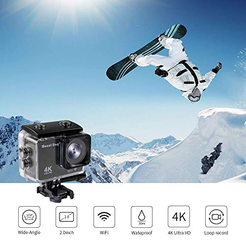 MOUNTDOG Action Camera 4K/16MP Underwater Waterproof 30M Camera with 2'' LCD Wide Angle View, 1080P Full HD Sport Camcorder with 10M WiFi Wireless Control and Portable Camera Bag by MOUNTDOG (Image #2)