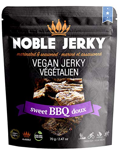(Noble Jerky - Vegan Jerky BBQ Flavor | Plant Based Vegan Protein Snacks | Meatless, Vegan and Vegetarian Friendly | Sweet BBQ Seasoning | 100% Free from Beef or Meat | Non GMO)