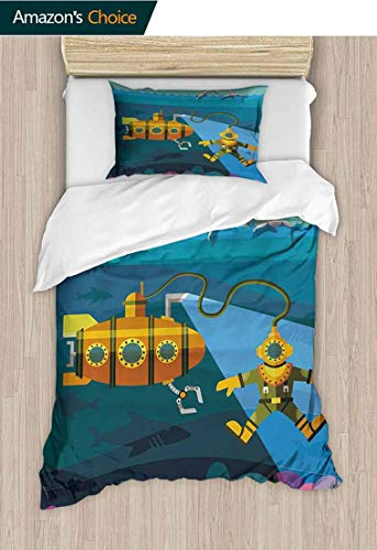 Yellow Submarine Printed Duvet Cover and Pillowcase Set, A Submarine and a Diver Jumping Dolphins Illustration Print, Bedding Sets with Soft Lightweight Microfiber 1 Duvet Cover and 1 Pillow Shams