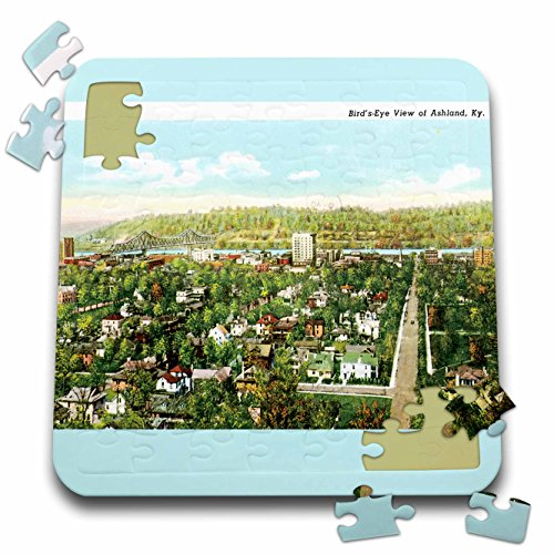 3dRose BLN Vintage US Cities and States Postcard Designs - Birds Eye view of Ashland Kentucky Vintage Postcard - 10x10 Inch Puzzle (pzl_170064_2)