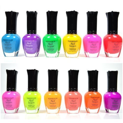 Enamel Polish Nail Lacquer (KLEANCOLOR NEON COLORS 12 FULL COLLETION SET NAIL POLISH LACQUER)