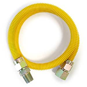 """EasyFlex 1/2"""" x 1/2"""" x 48"""" Yellow Coated Stainless Steel Flexible Gas Connector"""