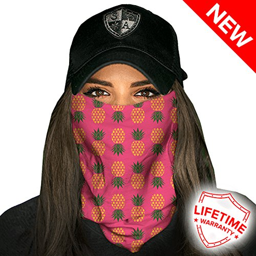 SA Company Face Shield Micro Fiber Protect from Wind, Dirt and Bugs. Worn as a Balaclava, Neck Gaiter & Head Band for Hunting, Fishing, Boating, Cycling, Paintball and Salt Lovers. - Pineapple Pink