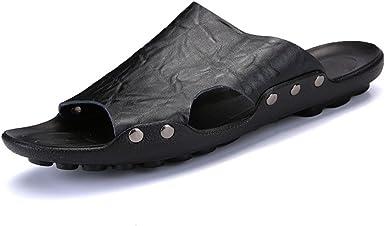 Hilotu Mens Slippers Slip-on Sandals Comfortable Shower Slides Beach Pool Slip Open Toe Ring Sandals