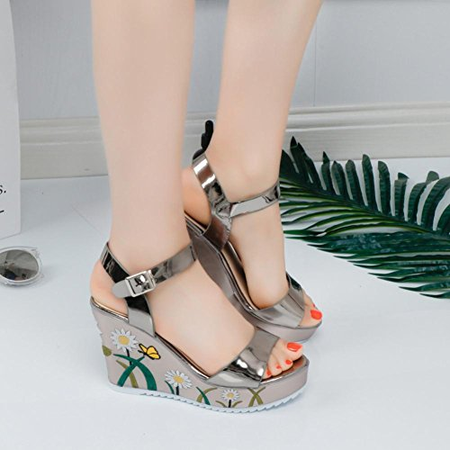 Zapatos de vestir, SHOBDW Cabeza de la plataforma del verano de la manera de las mujeres con los zapatos de los holgazanes de las sandalias de los fracasos de tirón Gold