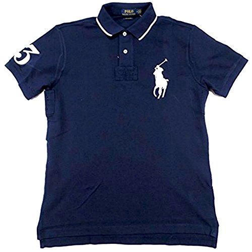 Polo Ralph Lauren Men's Custom Fit Big Pony Logo Polo Shirt (L, - Blue Polo Lauren Ralph