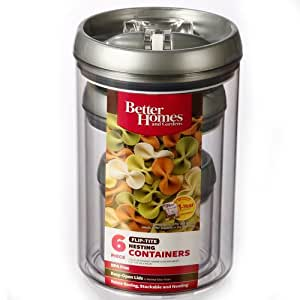 Better homes and gardens flip tite nesting containers 6 piece home kitchen for Better homes and gardens canisters