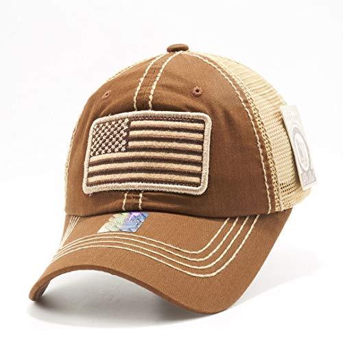 Honor Country USA American Flag Baseball Cap Black - Brown