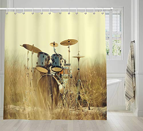 (NYMB Western Country Music Bathroom Shower Curtains, Musical Instruments Grunge Drum in Field, Polyester Bath Curtain, Fabric Shower Curtain Sets with Hooks, 69