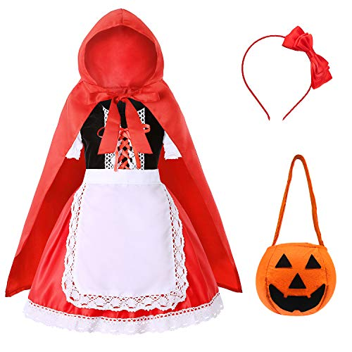 Soyoekbt Little Red Riding Hood Costume for Girls Kids Halloween Cosplay Costume 7-8 Years