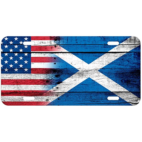 - ExpressItBest High Grade Aluminum License Plate - Flag of Scotland Scottish - Wood/USA