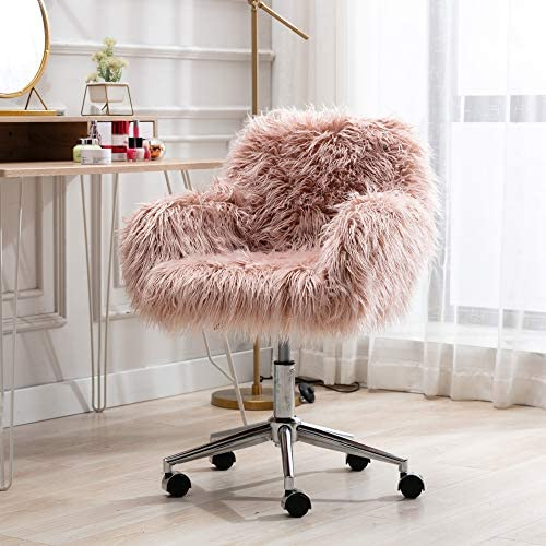 Goujxcy Faux Fur Home Office Chair