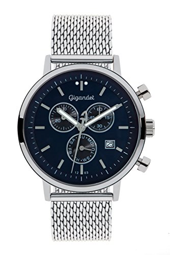 Gigandet Men's/Women's Quartz Watch Classico Chronograph Analog Stainless Steel Silver Blue G6-013