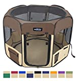 "Image of EliteField 2-Door Soft Pet Playpen, Exercise Pen, Multiple Sizes and Colors Available for Dogs, Cats and Other Pets (62"" x 62"" x 36""H, Brown+Beige)"
