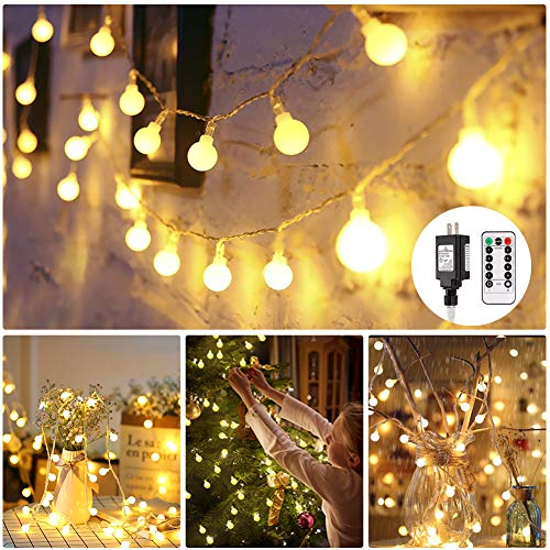 Globe String lights, Room Lights with Remote Control, 100 LED Hanging lights Waterproof Outdoor Indoor for Home Decor Party Patio Garden Wedding Decoration, 44 Ft, 8 Lighting Modes, Warm White -