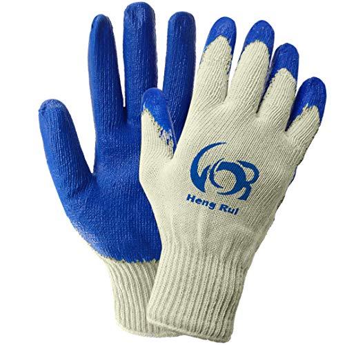 (Safety Grip Protection Gloves Economical String Knit Latex Dipped Palm Gloves, Nitrile Coated Work Gloves for General Purpose, One Size, Blue (10))