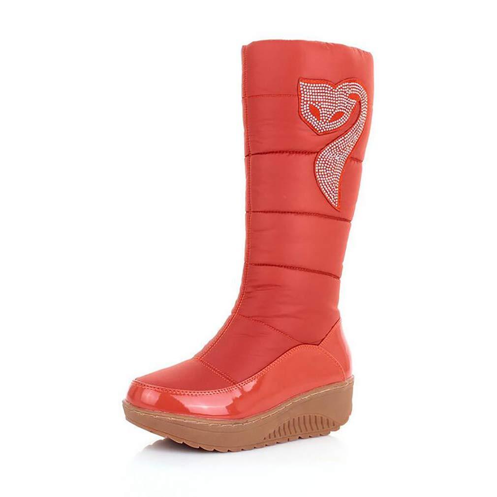 Hy Frauen Winter Stiefel Künstliche PU Flache Schneeschuhe Stiefel Runde Kappe Casual Stiefel/Damen Slip-Ons Skifahren Schuhe Im Freien Snowsports (Farbe : Orange, Größe : 39)