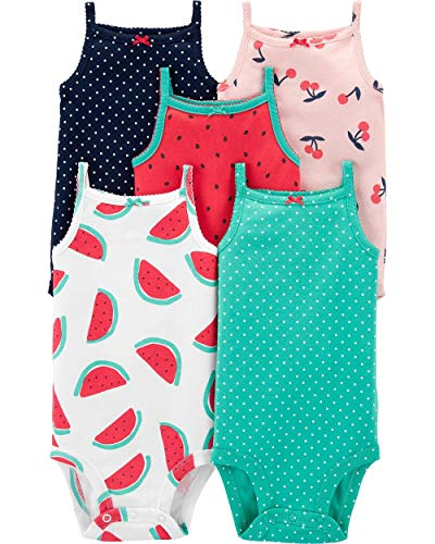 Carter's Baby Girls 5 Pack Bodysuit Set, Watermelon, 6 Months (Watermelon Bodysuit)