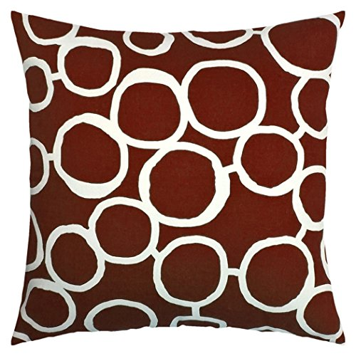 JinStyles Circle Cotton Canvas Decorative Throw Pillow Cover (Brown and White, 18 x 18 Inches) (Green Circles Pillow)
