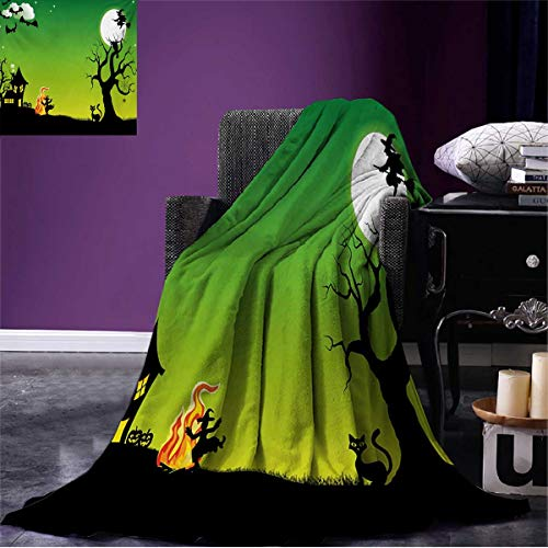 Halloween Travel Blanket Witches Dancing with Fire and Flying at Halloween Ancient Western Horror Image Flannel Green Black W62 x L60 inch ()
