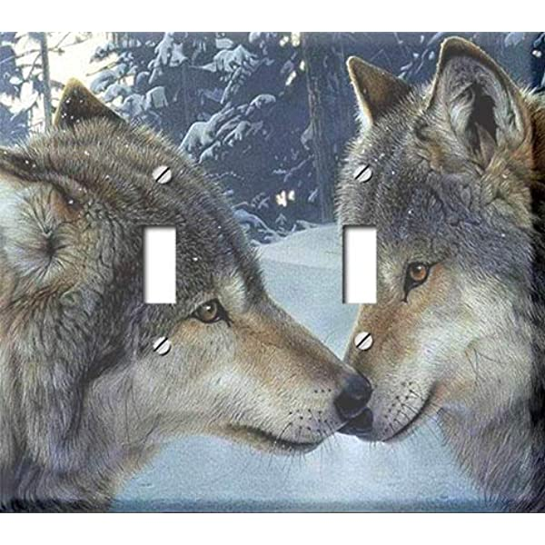 Snow Wolf Kiss Double Toggle Switchplate Switch Plate Cover Amazon Com