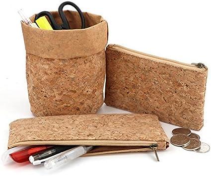Estuche para lápices, organizador de escritorio, monedero, tarjeta de teléfono, papel lavable, madera de corcho, ecológico: Amazon.es: Oficina y papelería