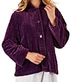 Slenderella Ladies Purple 24'' or 61cm Luxury 320GSM Soft Thick Velvet Fleece, Faux Fur Collared Button Up Bed Jacket Large