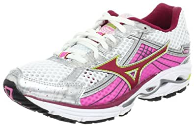 Mizuno Women's Wave Rider 15 Running Shoe,White/Red Plum/Calcite,12 B US