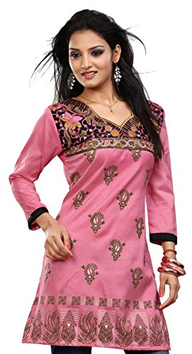 Indian Kurti Top Tunic Embroidered Womens Blouse India Clothes (Pink, L)