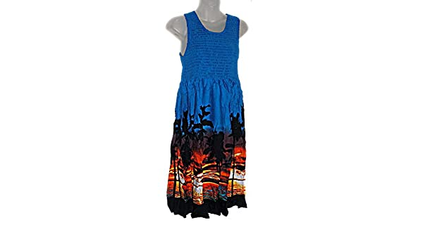 aaff146c8d3 Hawaiian Beach Sunset Palm Trees Summer Dress Luau Sundress (M-XL See  Measurements) f01S at Amazon Women s Clothing store
