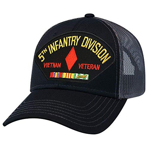 - 5th Infantry Division Vietnam Veteran Mesh Cap Black