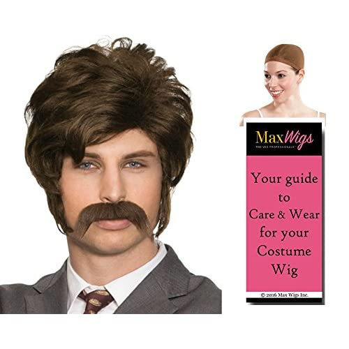 Top Chip 70s Wig Mustache Set Color Brown - Enigma Wigs Men's Hollywood Porn Police Officer Bundle with Wig Cap, MaxWigs Costume Wig Care Guide free shipping