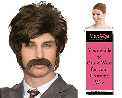 Hollywood Star Wig (Chip 70s Wig Mustache Set Color Brown - Enigma Wigs Men's Hollywood Porn Police Officer Bundle with Wig Cap, MaxWigs Costume Wig Care Guide)