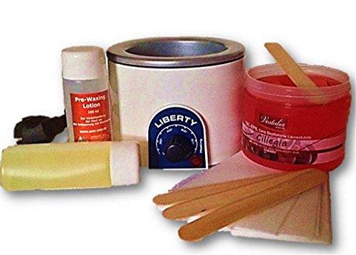 Waxing Profi Set mit Wachswärmer Gelwachs,Vliesstreifen Bikini, Vliesstreifen Gesicht Prewax Lotion, Afterwaxing, Spatel für Haarentfernung