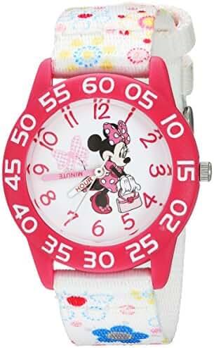 Disney Girl's 'Minnie Mouse' Quartz Plastic Casual Watch, Color:White (Model: WDS000164)