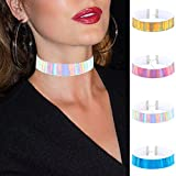 Women Summer PU Leather Laser Wide Choker Rainbow Punk Gothic Necklace Jewelry Metal Buckle