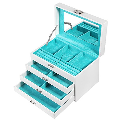 SONGMICS Jewelry Box Organizer Jewelry Storage Case with Large Mirror and 3 Drawers, Gift for Mom, White UJBC113