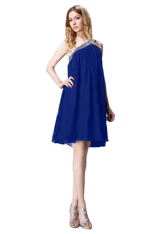 2014 Modern One-shoulder Mini Beaded Chiffon Evening Dress Custom-made