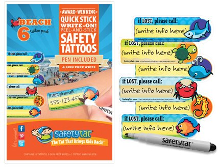 Quick Stick Write-on! Child ID Tattoos NEW (Beach 6pk.)
