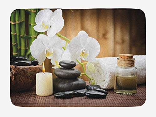 Spa Bath Mat, Asian Spa Style Arrangement with Zen Stones Candle Flowers and Bamboo Art, Plush Bathroom Decor Mat with Non Slip Backing,28 W X 16 L Inches, White Green and Black