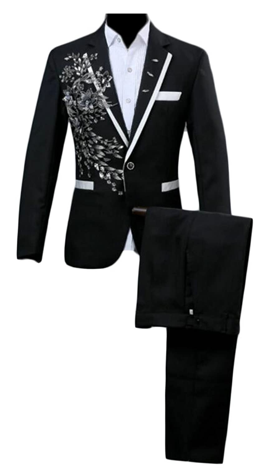 8276f5ba06 Alion Men Long Sleeve Slim Fit Sequin Glitter Suit Blazers + Suit Pants Set  50%